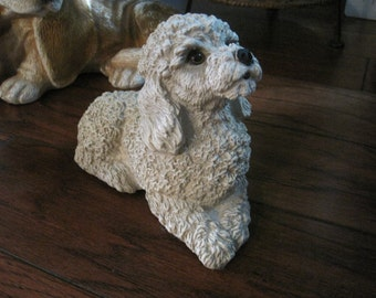 Vintage Large Off White Resin Poodle Dog Figurine/Statuette, Adorable Curly-Sweet Eyed Poodle Statue Home Decor, Collectible Dog Figurine