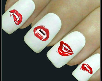Halloween Nail Decal 20 Vampire Mouth Nails Water Slide Decals Fingernail Decal Haunting Nail Tattoos Nail Transfers