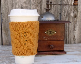Coffee Cup Cozy, Coffee Mug Cozy - Cable Knit Coffee Cup Sleeve PDF Knitting Pattern
