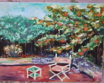 Garden Painting 11 x 14 Canvas Painted Art Painting Garden Scene A Chair in the Garden