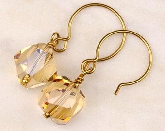Golden Shadow Crystal Earrings | 14k Gold Filled Earrings | Swarovski Elements Graphic Cube