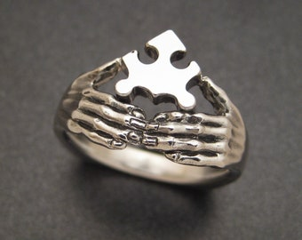 Sterling Jigsaw Puzzle Ring