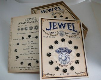 Vintage Jewel Snap Fasteners in Original Box