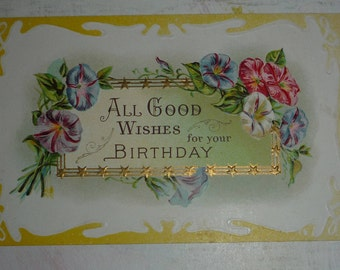 Pretty Morning Glories, All Good Wishes For Your Birthday Antique Postcard