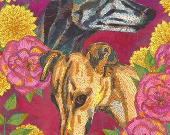 Greyhounds Art Loose Print, Colourful Wall Art, Greyhound Gifts, Dog Lover Art, Greyhound Print, Greyhound Painting, 8 x 10/11 x 14/ 16 x 20