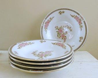 Fairfield China Spring Mist Pattern coupe soup bowl, pink floral, fine china, vintage servingware, housewarming, wedding present