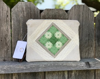 Green Gardens Hand Embroidered Vintage Style Wristlet