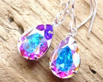 Aurora Borealis Earrings, Swarovski Crystal Earrings, Rhinestone Teardrop Earrings, Bridal Earrings, Sterling Silver, Prism, Wedding