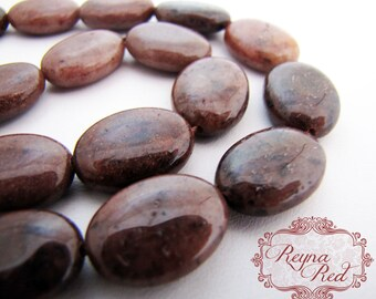 Hot Chocolate Dyed Jasper Flat Oval Beads, 13x18mm, 21 pcs - FULL strand dyed jasper gemstone beads - reynaredsupplies