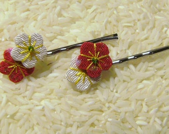 Ume Blossom Hair Pin - Red & White