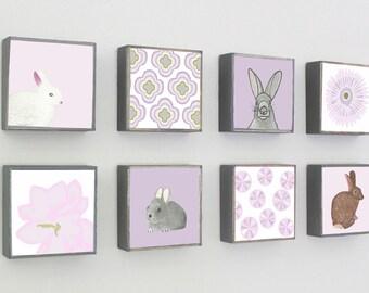 animal nursery woodland forest nursery art- eight set of art blocks- purple nursery rabbit bunny flowers floral nursery redtilestudio