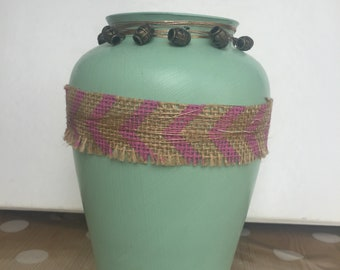 Shabby chic hand painted Vase