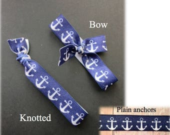Anchor elastic hair ties (ponytail holders) - bow or knotted - sets of 6 or 12 - can be combined with solid colors