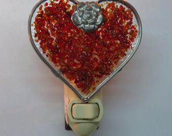 Heart Nightlights 4 Different Colors Ready to Ship - Pretty Colors Fused Glass Dot Nightligts