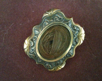 Antique Victorian Mourning Hair Brooch Pendant Jewelry