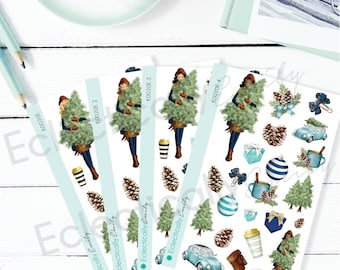 Christmas Pine Decoration Planner Stickers | Winter Planner Stickers | Christmas Stickers for Erin Condren Life Planner | K020 E