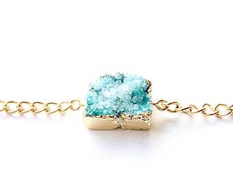 Druzy Stone Bracelet. FAST Shipping w/Tracking for US Buyers. Gift Box & Ribbon Included. You Choose Chain Length.
