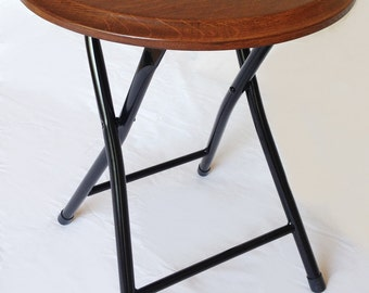 Ace, collapsible folding stool or end, side table, recycled oak wine barrel