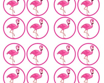Pink Flamingo Edible Wafer Rice Paper Cake Cupcake Toppers x 24 PRECUT