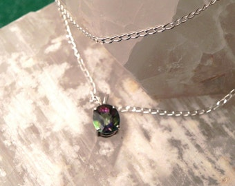 """10x8mm Mystic Topaz & Sterling Silver 18"""" Necklace"""