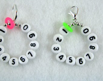 Select A Neon Color - 10 Row Removable Row Counter Stitch Marker - Lobster Claw or Leverback - Item No. 1098