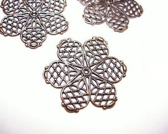 10pc 26mm antique copper filigree wraps-4554