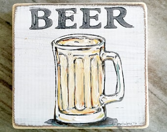 Beer:  Wood Sign, New Orleans Art, New Orleans Gift, Beer Art, French Quarter, Home Bar Art, NOLA Art
