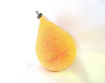 Vintage Christmas Ornament, Yellow Mica Pear Ornament