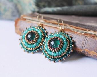 Bead Embroidery Earrings Emerald green Teal Earrings Beadwork Earrings Green Copper Earrings Green Dangle Earrings Boho Ethnic MADE TO ORDER