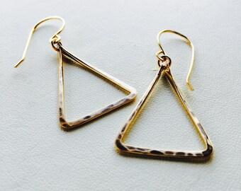 Triangle Earrings, Gold Triangle Earrings, Silver Triangle Earrings