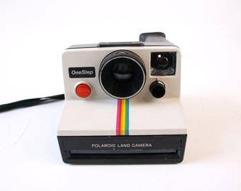 Vintage 70s rainbow striped Polaroid land instant film camera retro Instagram not working as is home Decor for decoration only