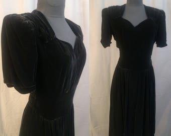 1930s Fashion Originators Guild Member Velvet Black Silk Evening Dress / 30s Silk Velvet dress in Black An Original Design Registered