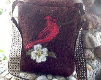 Cardinal on Marsala Brown Felted Wool Cross Body Messenger Bag