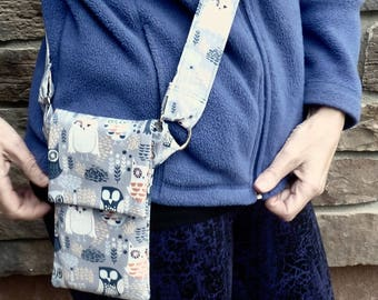Cell phone pouch, tiny purse that never lets you lose your phone, clever and secure, comfortable and quality handmade cross body purse