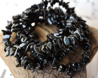 """Silver/Golden Sheen Obsidian Chip Beads 35"""" Strand Natural Black Gemstone Beads with Shimmery Lustre Luster"""