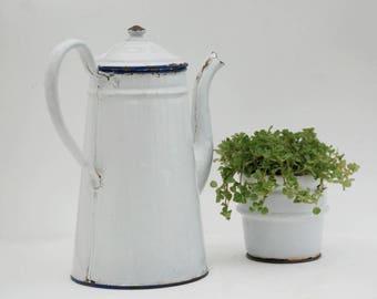 Vintage Enamel Coffee Pot, White enamelware coffee pot, French farmhouse kitchen decor.