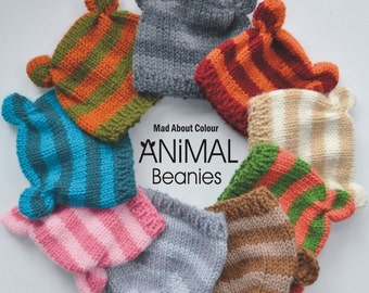 Baby Bear Knit Hat 0 - 6 month BaBY PHoTO PRoP Unisex Boy Girl Stripe ANiMal Baby Beanie CHooSE Ears Bear Pig Fox Cat PiCK CoLOR Shower Gift
