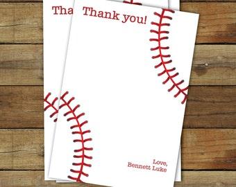 Baseball thank you card - printable baseball thank you - editable pdf - instant download