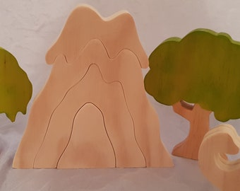 Natural Wooden Toy Volcano, Raw Unfinished. Pretend play, Waldorf, Steiner,