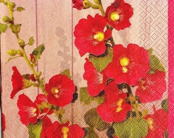 TOWEL in paper Hollyhocks #F023 Red