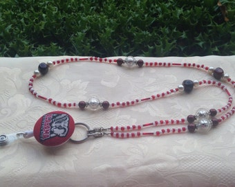 Alabama Beaded Lanyard Crimson Tide ID Badge Holder