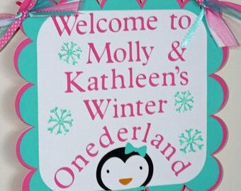 Girl Penguin Winter Onederland Door Welcome Sign, Winter Wonderland, Penguin Birthday, Birthday Banner