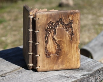Rustic wood journal  Coptic stitched Wood Anniverasry gift Wedding guest book