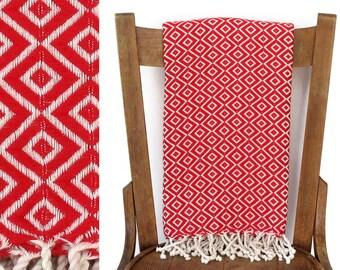 Sofa Throw pishtimal türkische Handtuch Couch werfen Beach Blanket handgewebter Baumwolle Türkisch Bad Handtuch Fouta Tuch Strand Wrap rot LALE DIAMOND