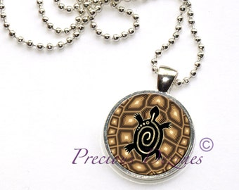 Turtle on turtle shell pendant. Spiral turtle necklace. Turtle pendant.