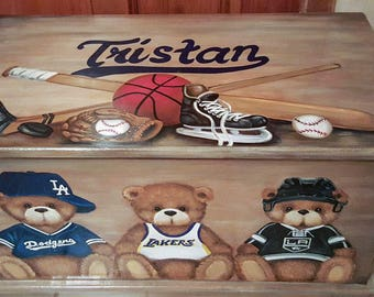 Teddy Bear Sports TOY BOX, Kids Furniture, Toy chest Personalized Sports Teams, hand made, hand painted, Bench, Nursery, Custom Wooden Chest