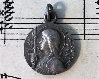 Small Antique French Silver Plated Joan of Arc Religious Medal Fleur de Lys c1920
