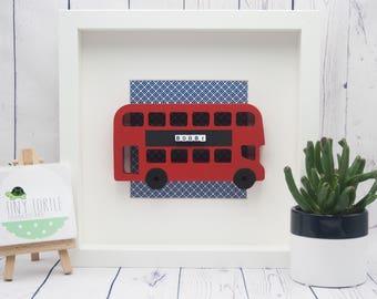 London bus frame, new baby gift, christening gift, baby shower gift, nursery decor, personalised gift, birthday gift, wooden box frame
