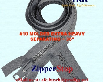 36 inch YKK ZIPPERS - Number10 Molded Extra Heavy - Separating zipper - GREY - Excellent for Tents and Marine by each