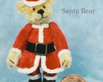 HALF PRICE - Santa Bear Miniature Teddy Bear Kit - Pattern - by Emily Farmer